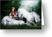 Romanticism Digital Art Greeting Cards - Lady and the Unicorns Greeting Card by Shanina Conway