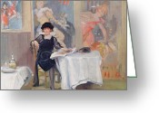 Sat Greeting Cards - Lady at a Cafe table  Greeting Card by Harry J Pearson