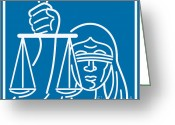 Illustration Greeting Cards - Lady Blindfolded Holding Scales of Justice Greeting Card by Aloysius Patrimonio