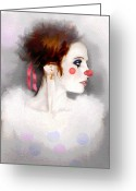 Redhead Greeting Cards - Lady Clown Greeting Card by Robert Foster