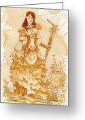 Steampunk Greeting Cards - Lady Codex Greeting Card by Brian Kesinger