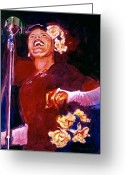 Big Band Greeting Cards - Lady Day - Billie Holliday Greeting Card by David Lloyd Glover