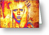 Lady Gaga Greeting Cards - Lady G Greeting Card by Juan Jose Espinoza