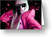 Lady Gaga Greeting Cards - Lady Gaga by GBS Greeting Card by Anibal Diaz