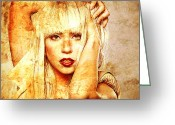 Lady Gaga Greeting Cards - Lady Gaga Greeting Card by Juan Jose Espinoza