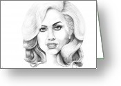 Lady Gaga Greeting Cards - Lady Gaga Greeting Card by Murphy Elliott