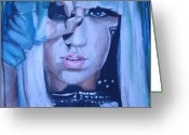 Gear Greeting Cards - Lady Gaga Portrait Greeting Card by Mikayla Henderson