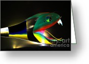 Lady Gaga Workshop Greeting Cards - Lady Gaga Snake II Greeting Card by Chuck Kuhn