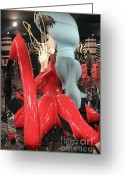 Lady Gaga Greeting Cards - Lady Gaga V Greeting Card by Chuck Kuhn