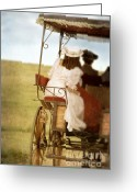 Edwardian Greeting Cards - Lady in a Surrey Carriage Greeting Card by Jill Battaglia