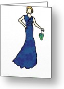 Evening Dress Mixed Media Greeting Cards - Lady in blue dress Greeting Card by Mira Dimitrijevic