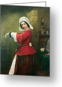Nineteenth Greeting Cards - Lady in French Costume Greeting Card by Edmund Harris Harden