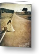 Rural Road Greeting Cards - Lady in Gown Sitting by Road on Suitcase Greeting Card by Jill Battaglia
