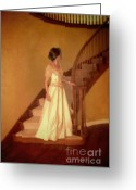 Bannister Tapestries Textiles Greeting Cards - Lady in Lace Gown on Staircase Greeting Card by Jill Battaglia