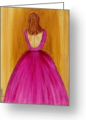 Ball Gown Painting Greeting Cards - Lady in Pink 4536 Greeting Card by Jessie Meier