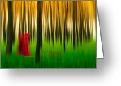 Mistic Greeting Cards - Lady in red - 3 Greeting Card by Okan YILMAZ
