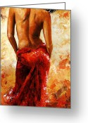 Charming Greeting Cards - Lady in red 27 Greeting Card by Emerico Toth