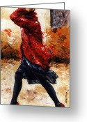 Red Shoes Greeting Cards - Lady in Red 28 Greeting Card by Emerico Toth