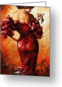 Red Woman Greeting Cards - Lady in Red 33 Greeting Card by Emerico Toth