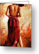 Charm Greeting Cards - Lady in red  39 Greeting Card by Emerico Toth