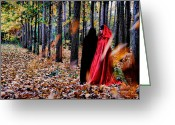 Mistic Greeting Cards - Lady in red - 4 Greeting Card by Okan YILMAZ