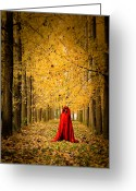 Mistic Greeting Cards - Lady in Red - 5 Greeting Card by Okan YILMAZ