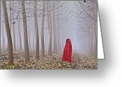Mistic Greeting Cards - Lady in red - 7 Greeting Card by Okan YILMAZ