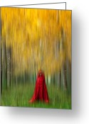 Mistic Greeting Cards - Lady in red - 9 Greeting Card by Okan YILMAZ