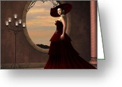 Red Dress Greeting Cards - Lady in Red Dress Greeting Card by Corey Ford