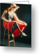Red Dress Greeting Cards - Lady in Red Greeting Card by Jerry McElroy