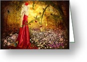Woman Mixed Media Greeting Cards - Lady in Red Greeting Card by Svetlana Sewell