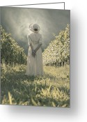 Straw Hat Greeting Cards - Lady In Vineyard Greeting Card by Joana Kruse