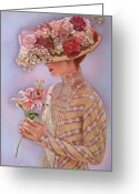Pastels Pastels Greeting Cards - Lady Jessica Greeting Card by Sue Halstenberg