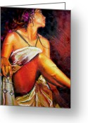 Warm Painting Greeting Cards - Lady Justice mini Greeting Card by Laura Pierre-Louis