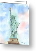 Freedom Painting Greeting Cards - Lady Liberty Greeting Card by Arline Wagner