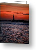 Cities Greeting Cards - Lady Liberty Greeting Card by Lone  Dakota Photography