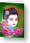 Maiko Greeting Cards - Lady Lotus Greeting Card by Betsy Jones