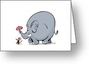 Cartoon Elephant Illustration Greeting Cards - Lady Mouse And Elephant Walking Greeting Card by Purestock