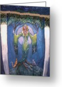 Denim Jacket Greeting Cards - Lady of the Green Tree Greeting Card by Janice T Keller-Kimball
