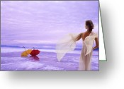 Ghostly Greeting Cards - Lady of the Lake Greeting Card by Ron Schwager