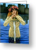 Camelot Pastels Greeting Cards - Lady of the Lake Greeting Card by Sue Halstenberg