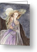 Book Cover Greeting Cards - Lady of the Moon Greeting Card by Morgan Fitzsimons