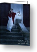 Edwardian Greeting Cards - Lady on Stairs with Lantern Greeting Card by Jill Battaglia
