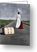 Running Back Greeting Cards - Lady On The Road Greeting Card by Joana Kruse