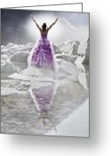 Evening Dress Greeting Cards - Lady on the rocks Greeting Card by Joana Kruse