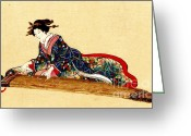 Hair Ornaments Greeting Cards - Lady Playing Koto 1878 Greeting Card by Padre Art