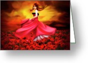 Long Dress Greeting Cards - Lady Poppy Greeting Card by Svetlana Sewell