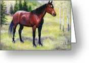 Quarter Horse Greeting Cards - Lady  Quarter Horse Mare Horse Painting Portrait Greeting Card by Kim Corpany
