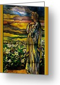Stained Glass Glass Art Greeting Cards - Lady Stained Glass Window Greeting Card by Thomas Woolworth