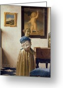 Vermeer Greeting Cards - Lady standing at the Virginal Greeting Card by Jan Vermeer